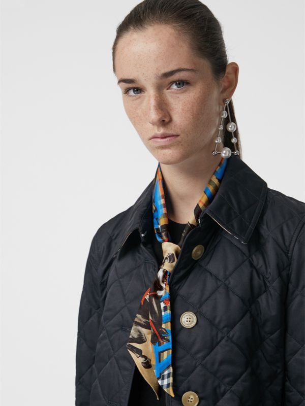 Graffiti Archive Scarf Print Silk Skinny Scarf in Bright Blue - Women | Burberry - cell image 3