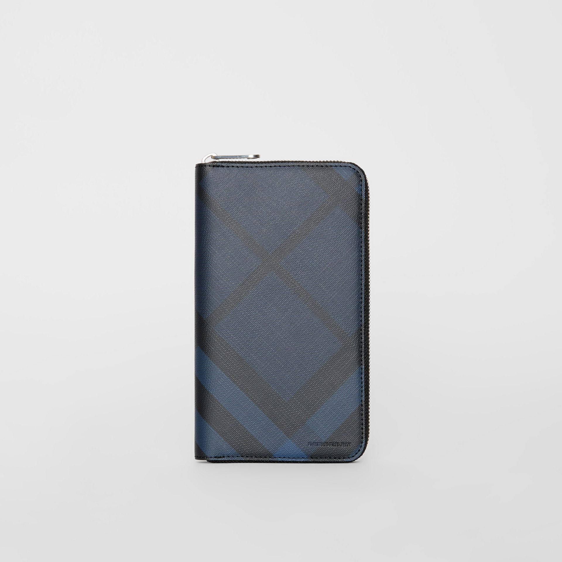 London Check and Leather Ziparound Wallet in Navy/black - Men | Burberry Canada - gallery image 2