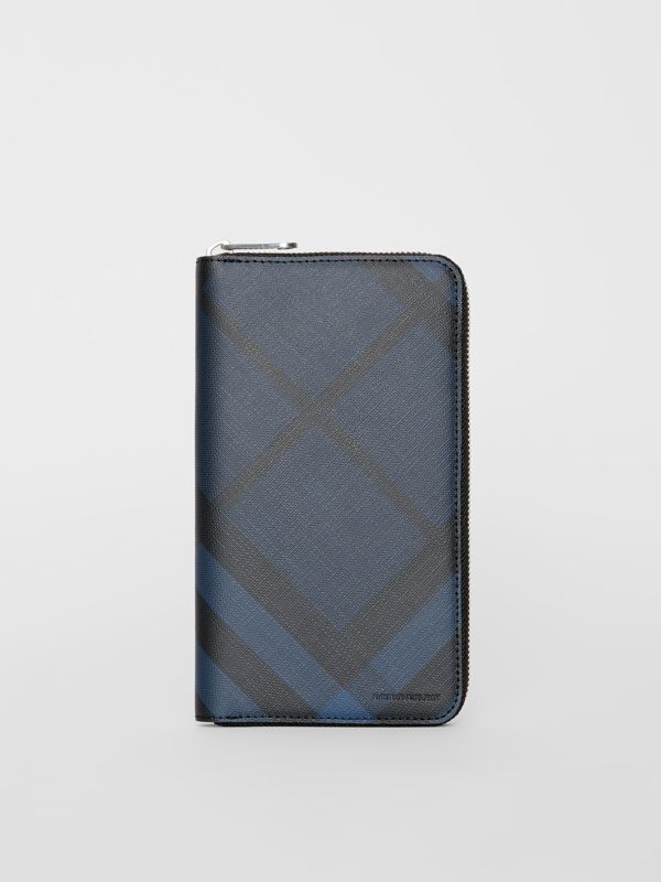 London Check and Leather Ziparound Wallet in Navy/black - Men | Burberry Canada - cell image 2