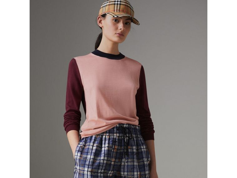 Colour Block Silk Cashmere Sweater in Pink Apricot - Women | Burberry - cell image 4