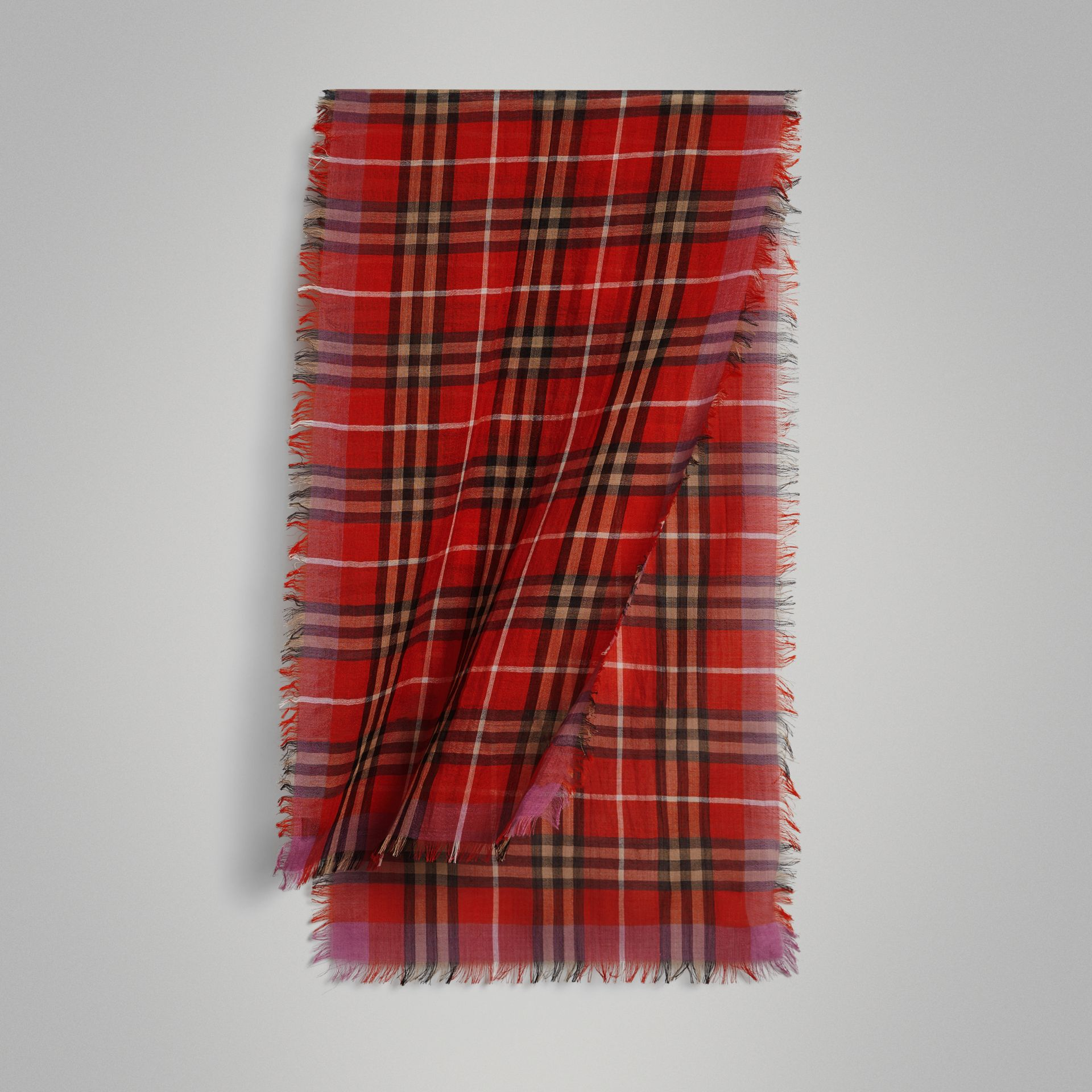 Lightweight Check Wool Silk Scarf in Bright Orange Red | Burberry - gallery image 0