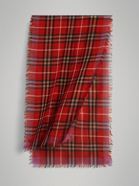 Lightweight Check Wool Silk Scarf in Bright Orange Red