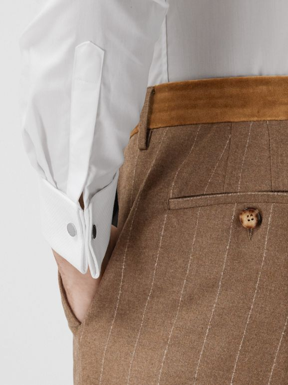Classic Fit Velvet Trim Wool Cashmere Trousers in Dark Tan - Men | Burberry - cell image 1
