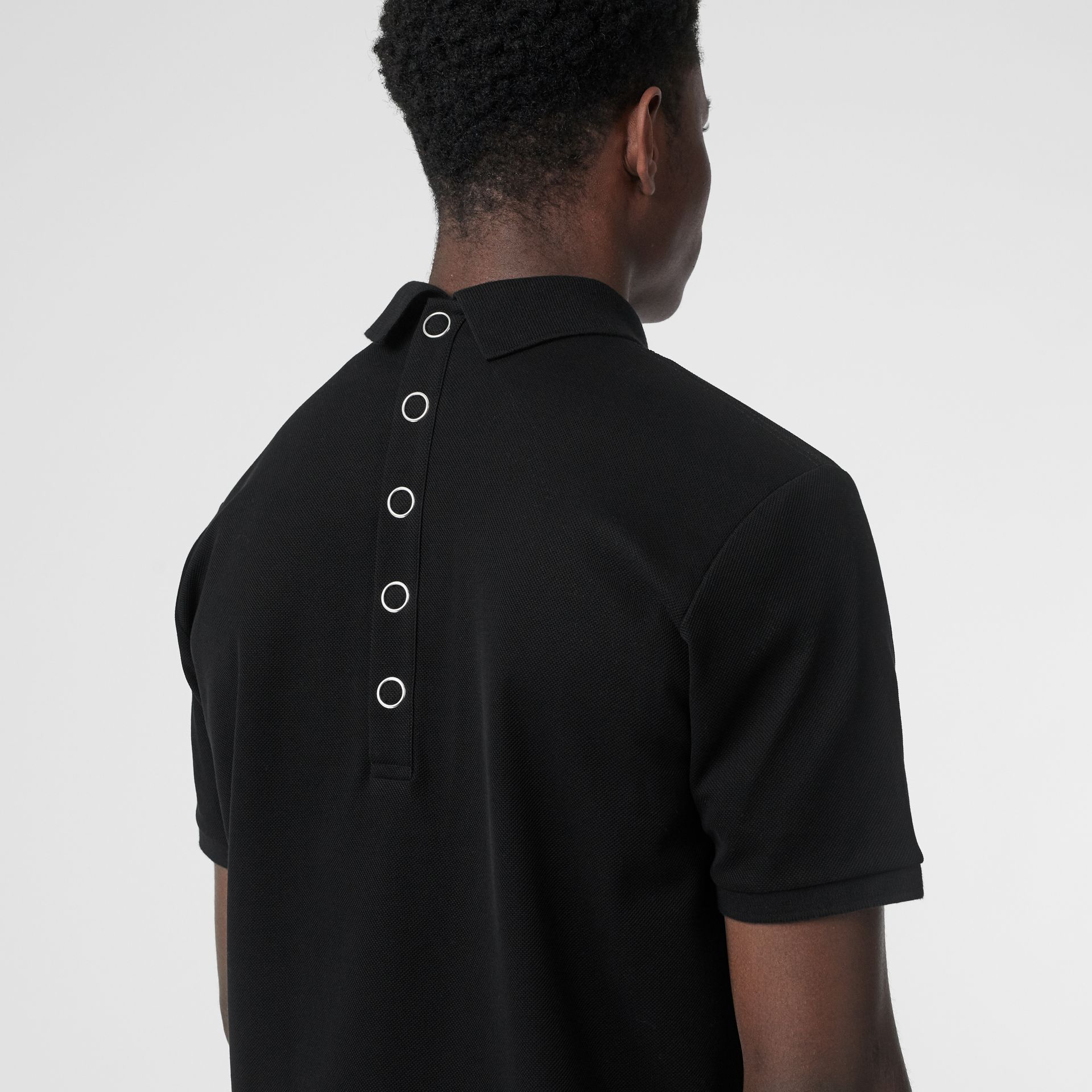 Monogram Motif Cotton Piqué Polo Shirt in Black | Burberry United States - gallery image 4