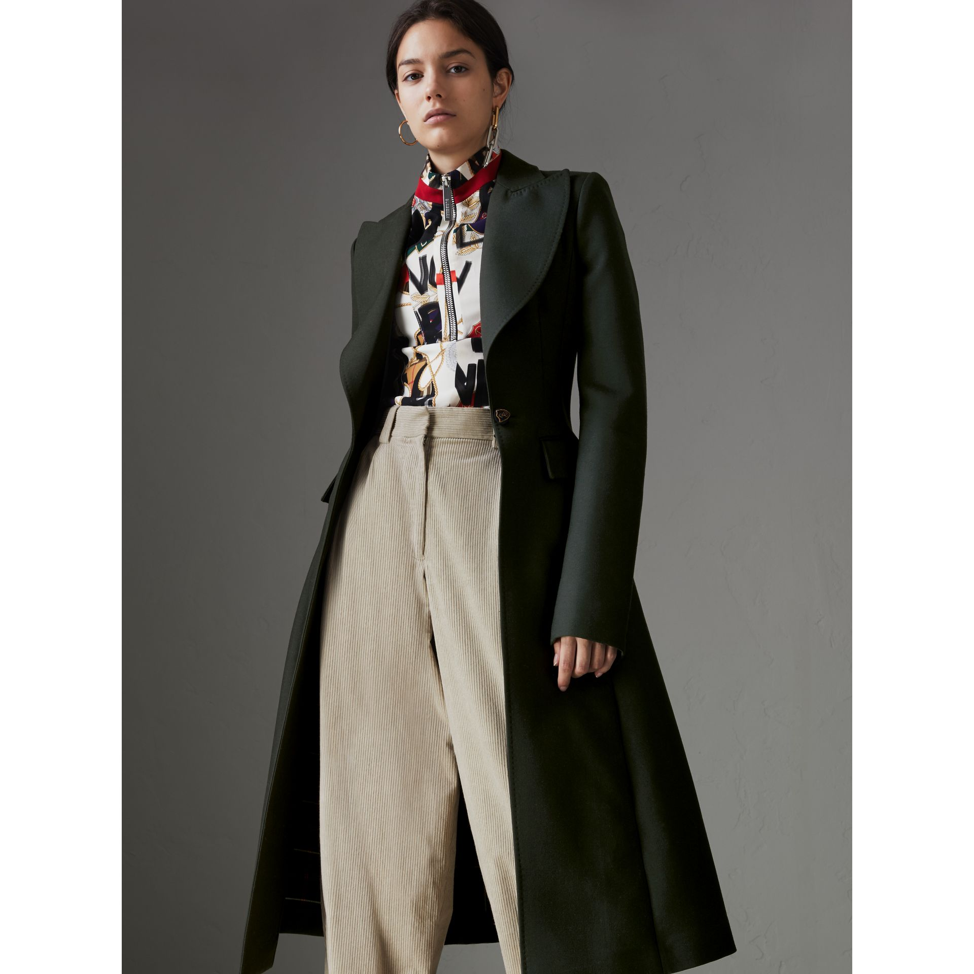 Crested Button Wool Tailored Coat in Racing Green/bright Navy - Women | Burberry United Kingdom - gallery image 5
