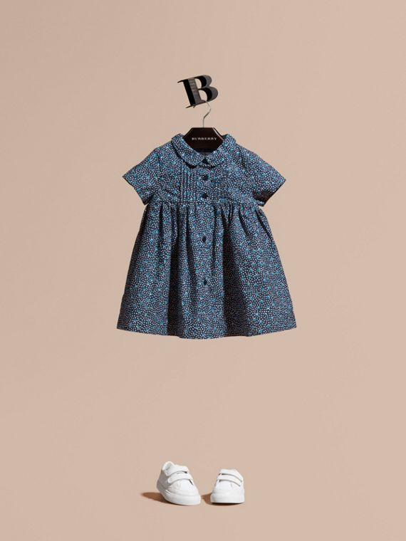 Pintuck Detail Painterly Spot Print  Cotton Dress