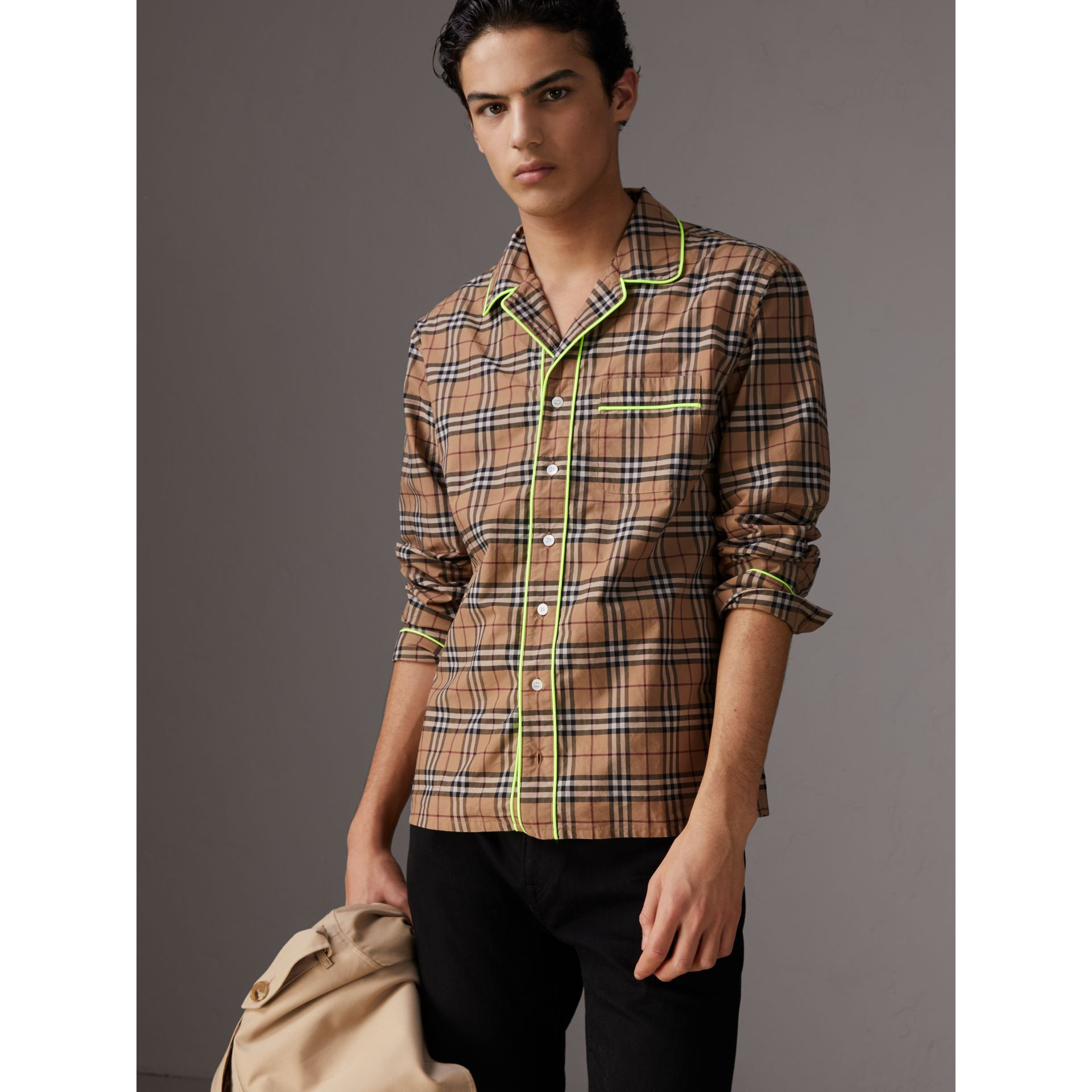Contrast Piping Check Cotton Pyjama-style Shirt in Camel - Men | Burberry - gallery image 4
