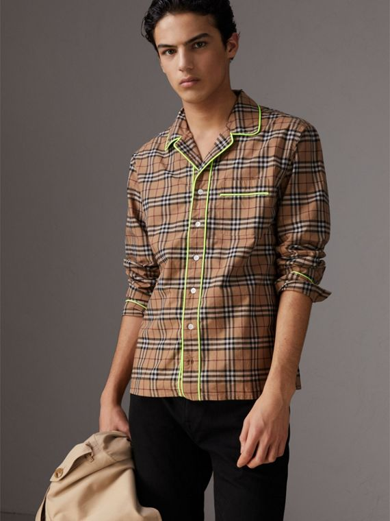 Contrast Piping Check Cotton Pyjama-style Shirt in Camel