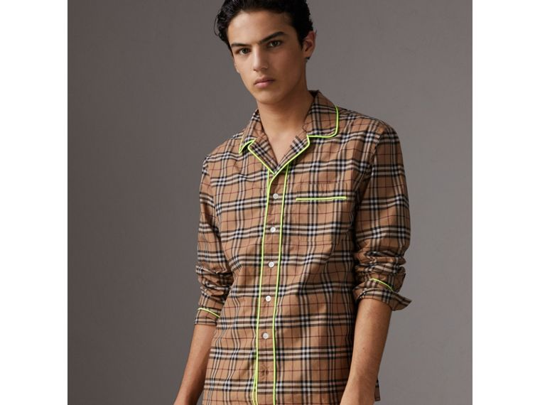 Contrast Piping Check Cotton Pyjama-style Shirt in Camel - Men | Burberry - cell image 4