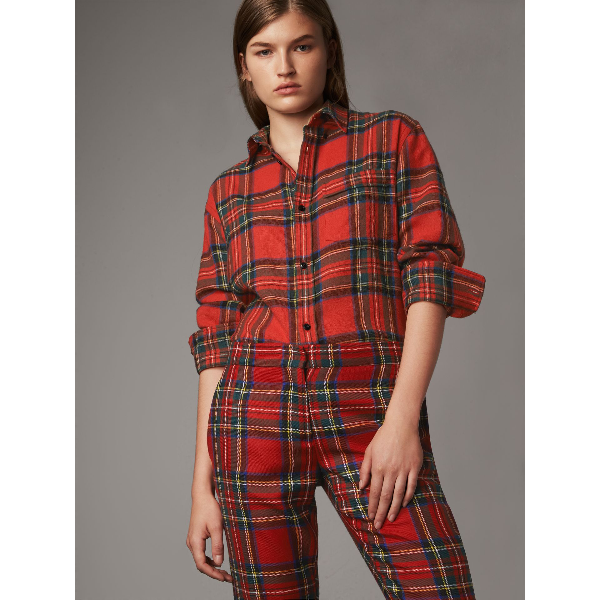 Tartan Wool Shirt in Bright Red - Women | Burberry United Kingdom - gallery image 1