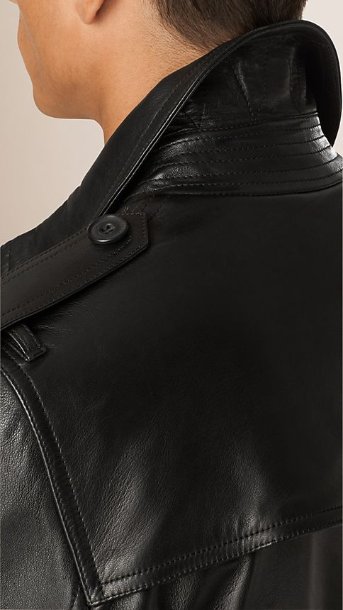 Black Nappa Leather Trench Coat - Image 5