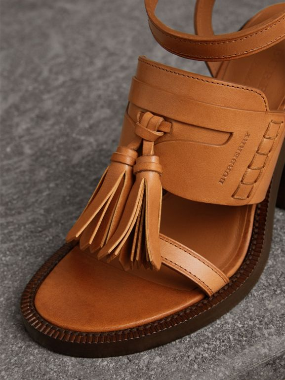 Tasselled Leather Block-heel Sandals in Amber - Women | Burberry - cell image 1