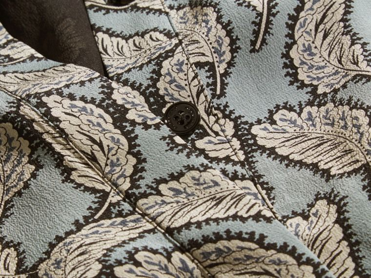 Bleu pierre Robe chemise en soie à imprimé feuillage - cell image 1