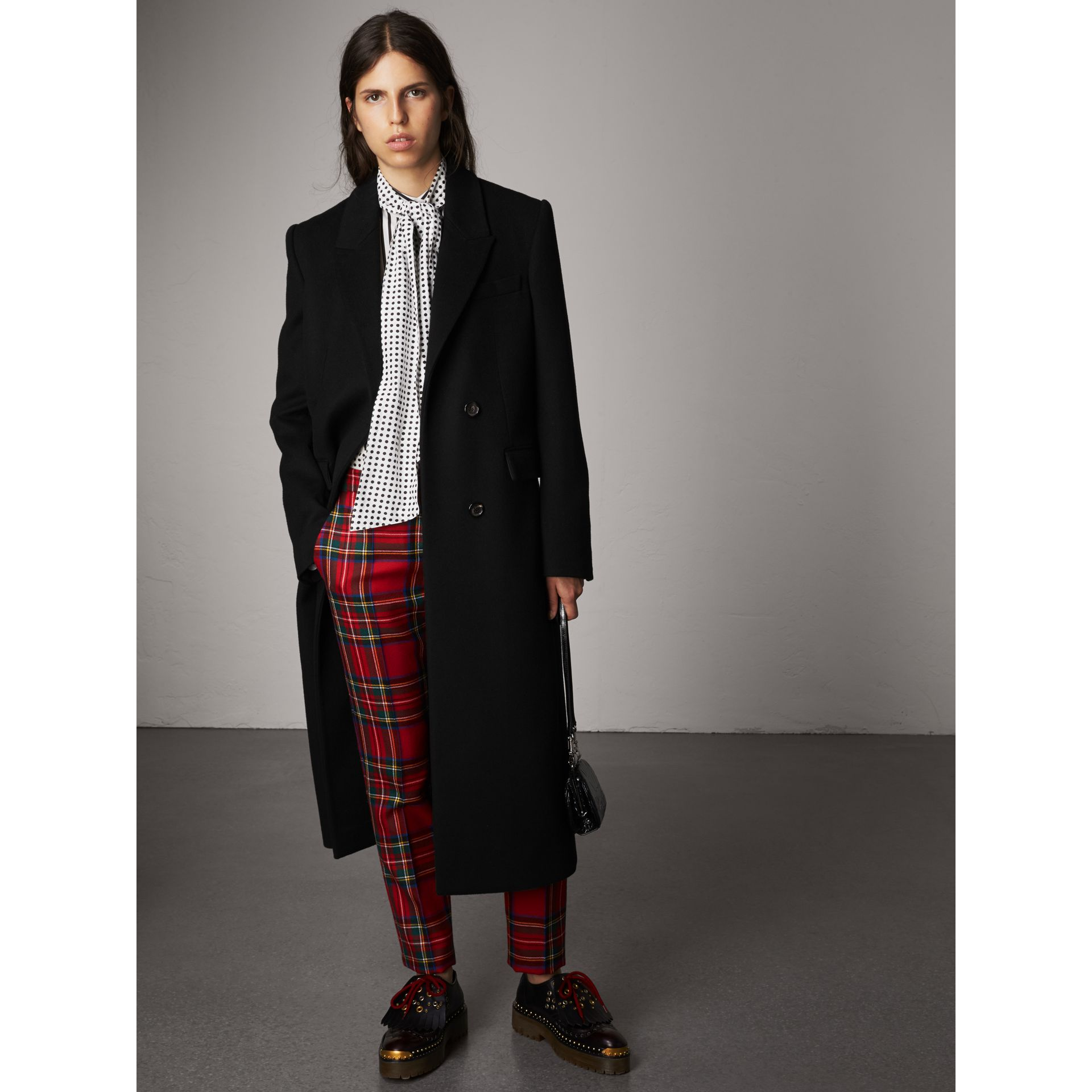 Tartan Wool Tailored Trousers in Bright Red - Women | Burberry - gallery image 1