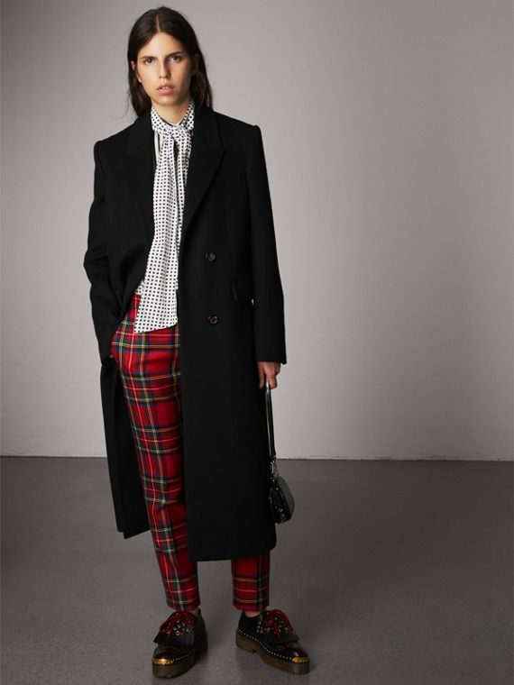Tartan Wool Tailored Trousers in Bright Red