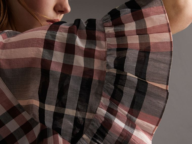 Ruffled Placket Check Cotton Dress in Dusty Pink - Women | Burberry - cell image 1