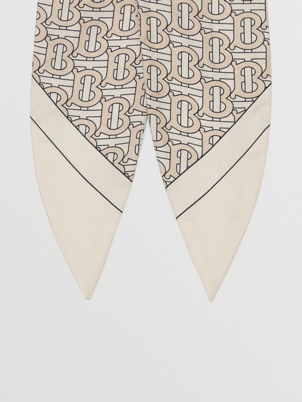 Monogram Print Silk Hair Scarf in Sesame - Women | Burberry - cell image 3