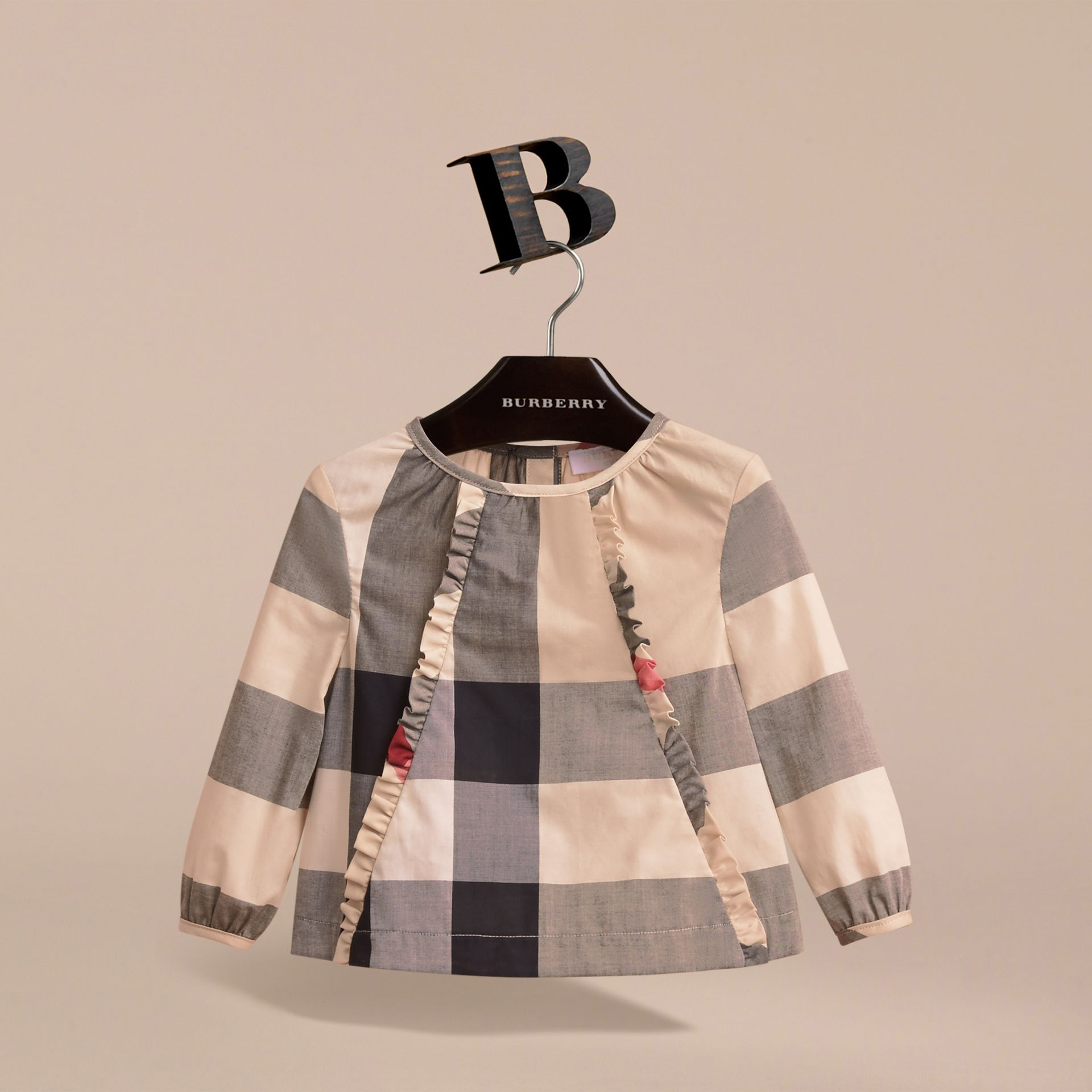 Ruffle Detail Check Cotton Top in New Classic | Burberry - gallery image 3