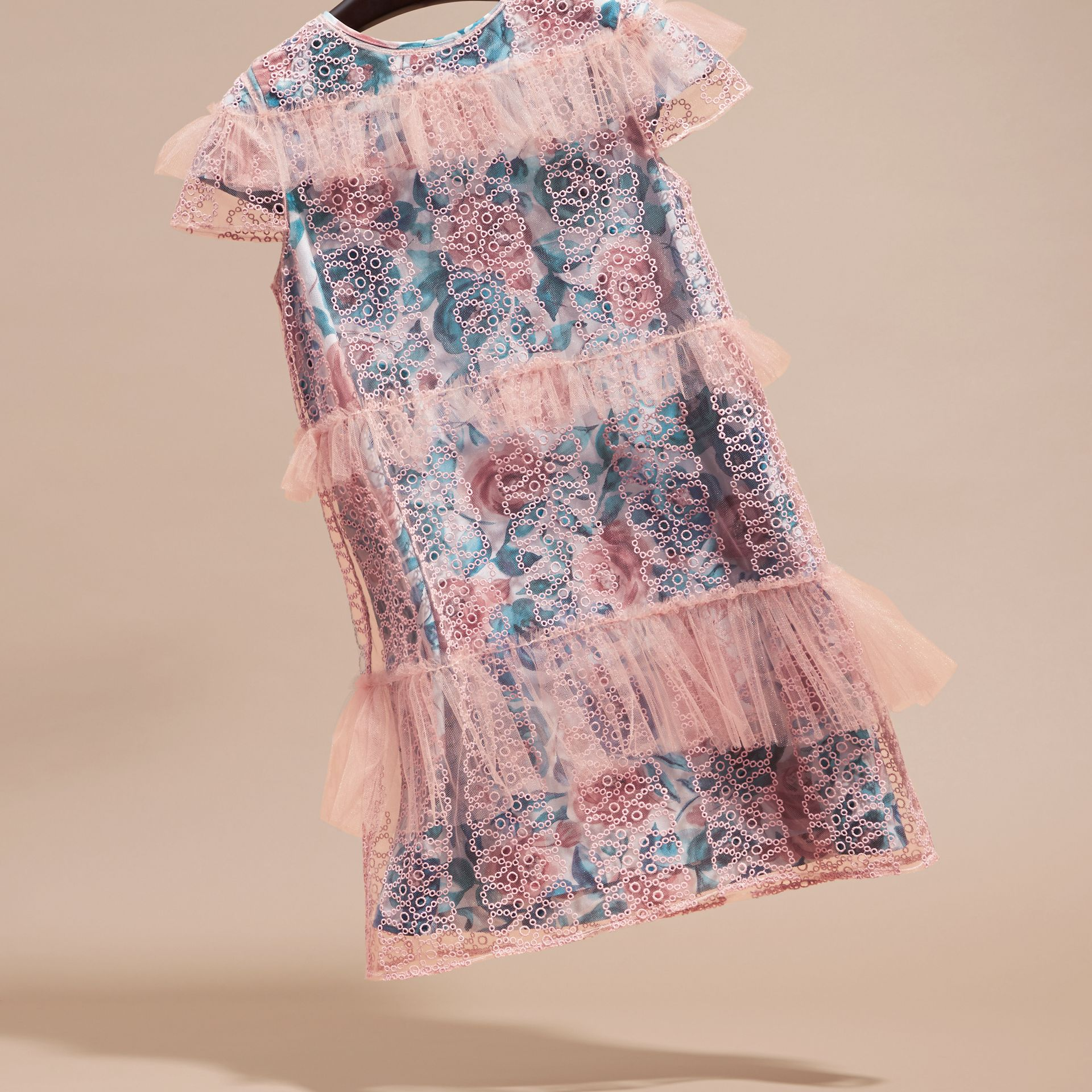 Pale rose Short-sleeved Embroidered Tulle and Silk Dress - gallery image 3