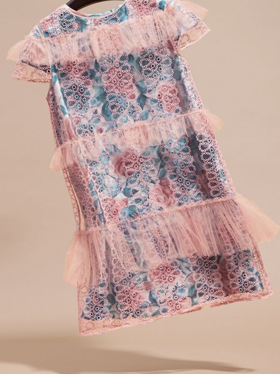 Pale rose Short-sleeved Embroidered Tulle and Silk Dress - cell image 2