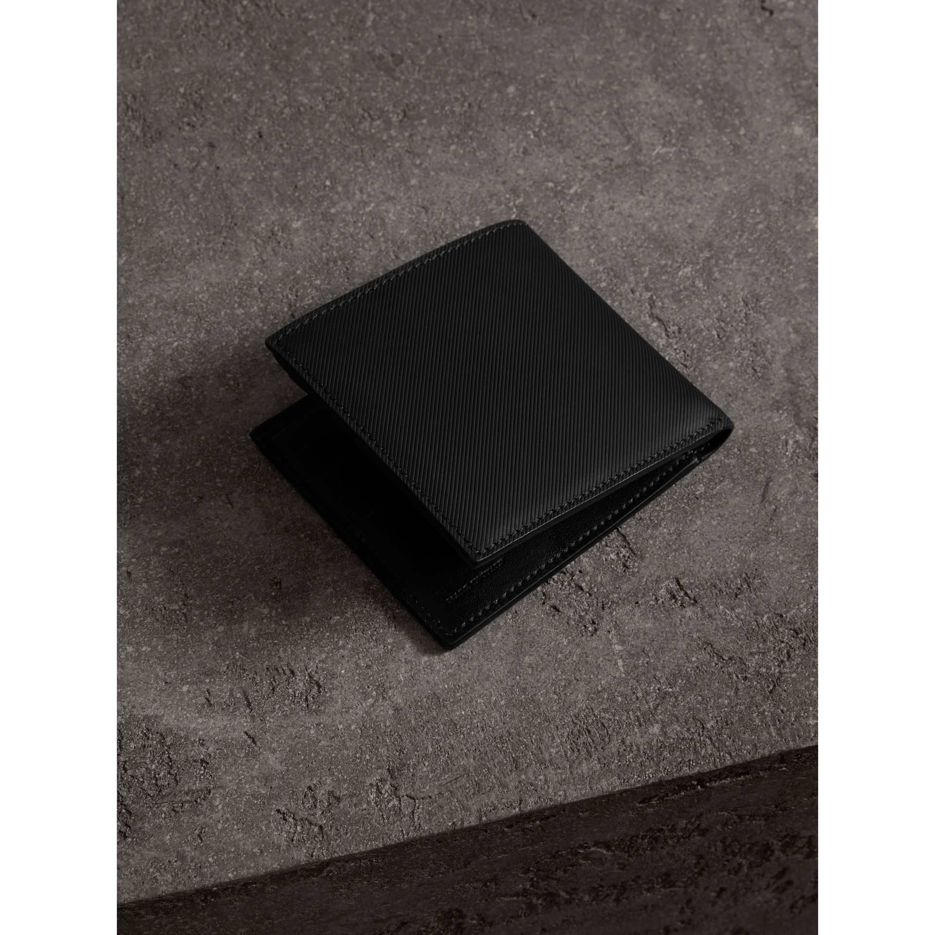 Trench Leather International Bifold Wallet in Black - Men | Burberry - gallery image 3
