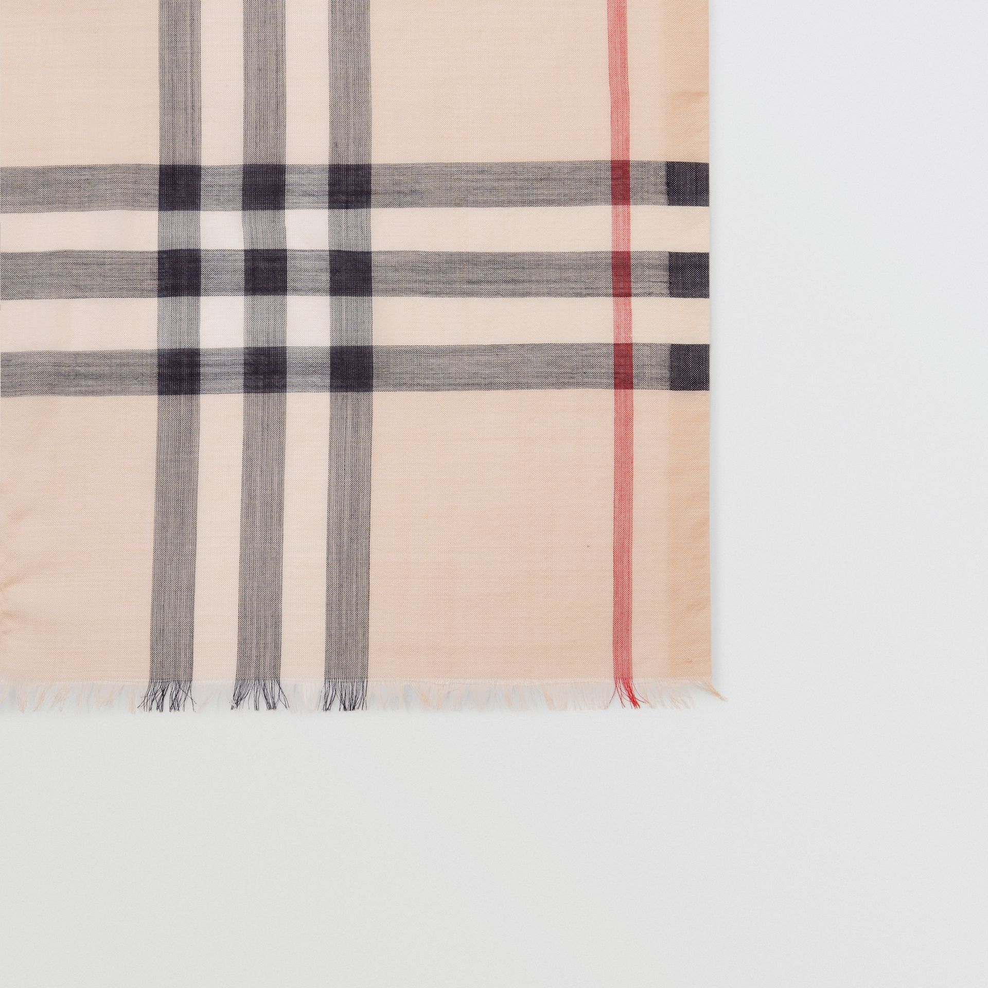 Lightweight Check Wool and Silk Scarf in Stone | Burberry - gallery image 1