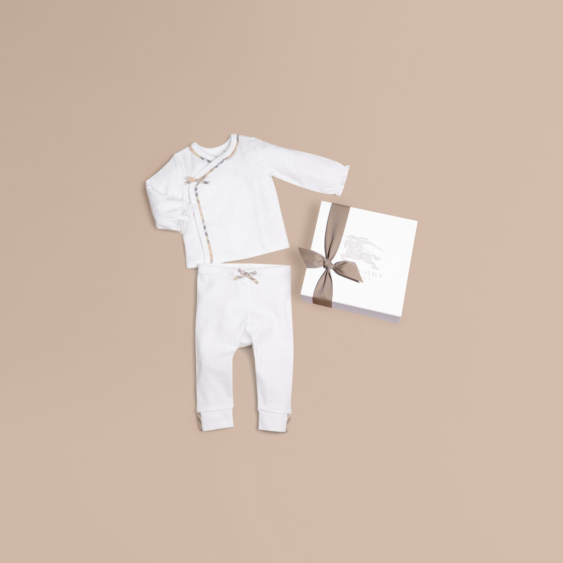 White Two-piece Cotton Baby Gift Set - gallery image 1