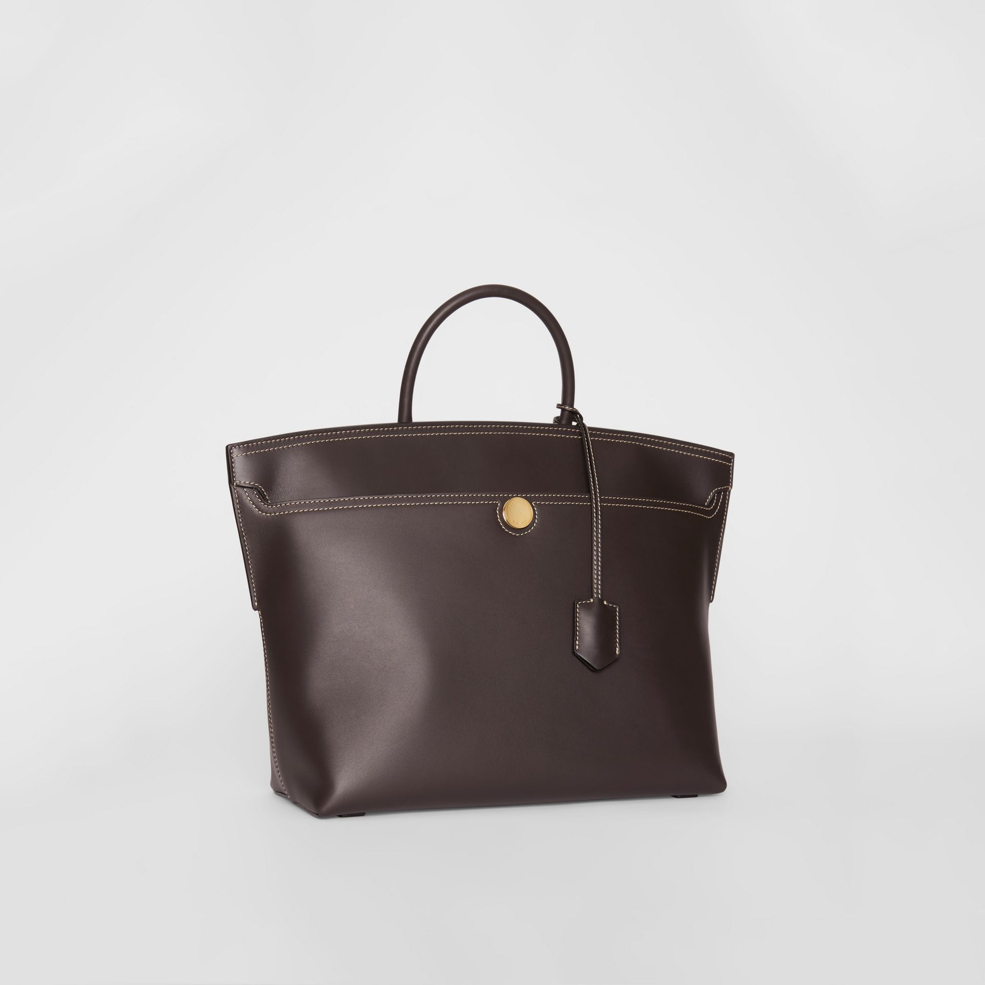 Leather Society Top Handle Bag in Coffee - Women | Burberry - gallery image 4