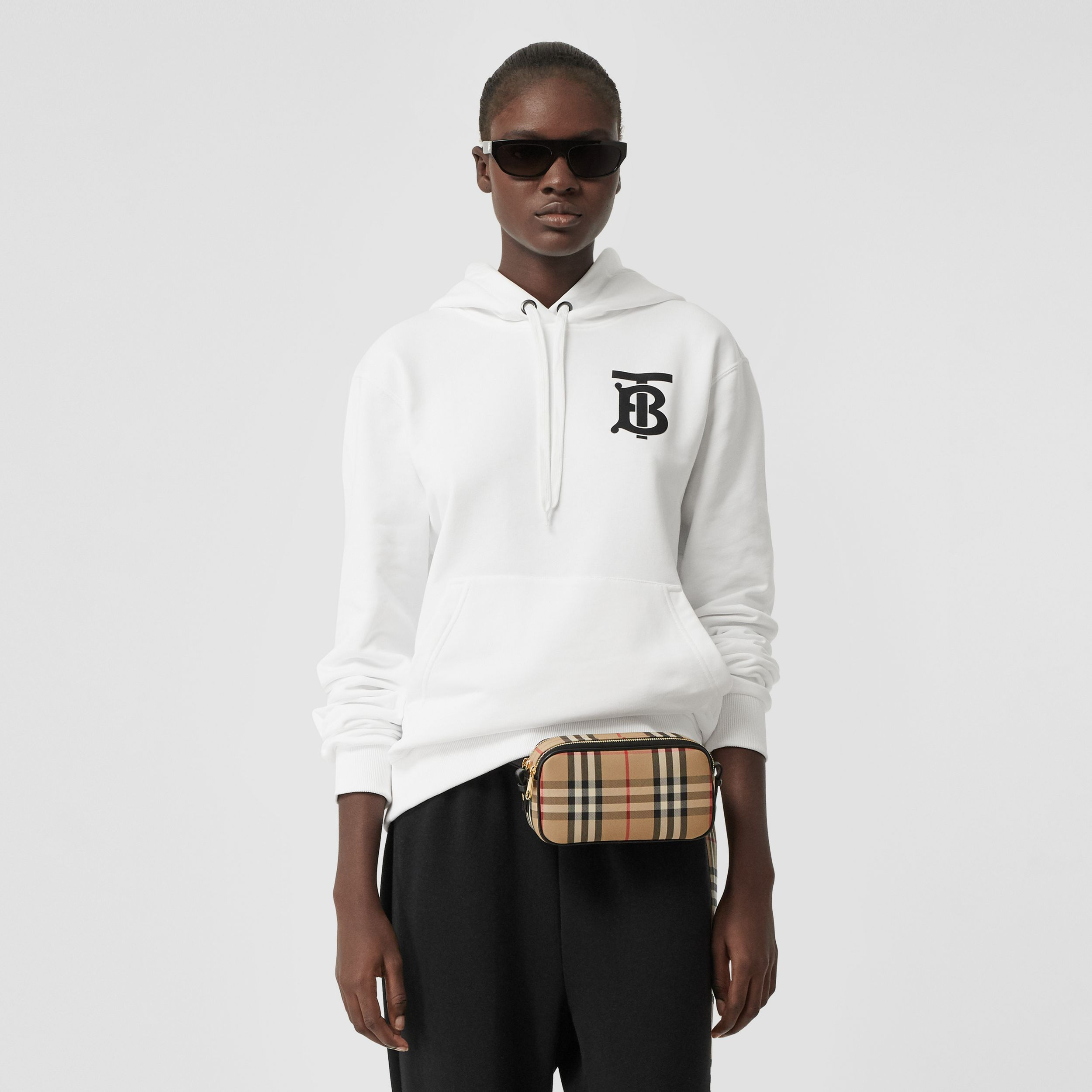 Monogram Motif Cotton Hoodie in White - Women | Burberry - 1