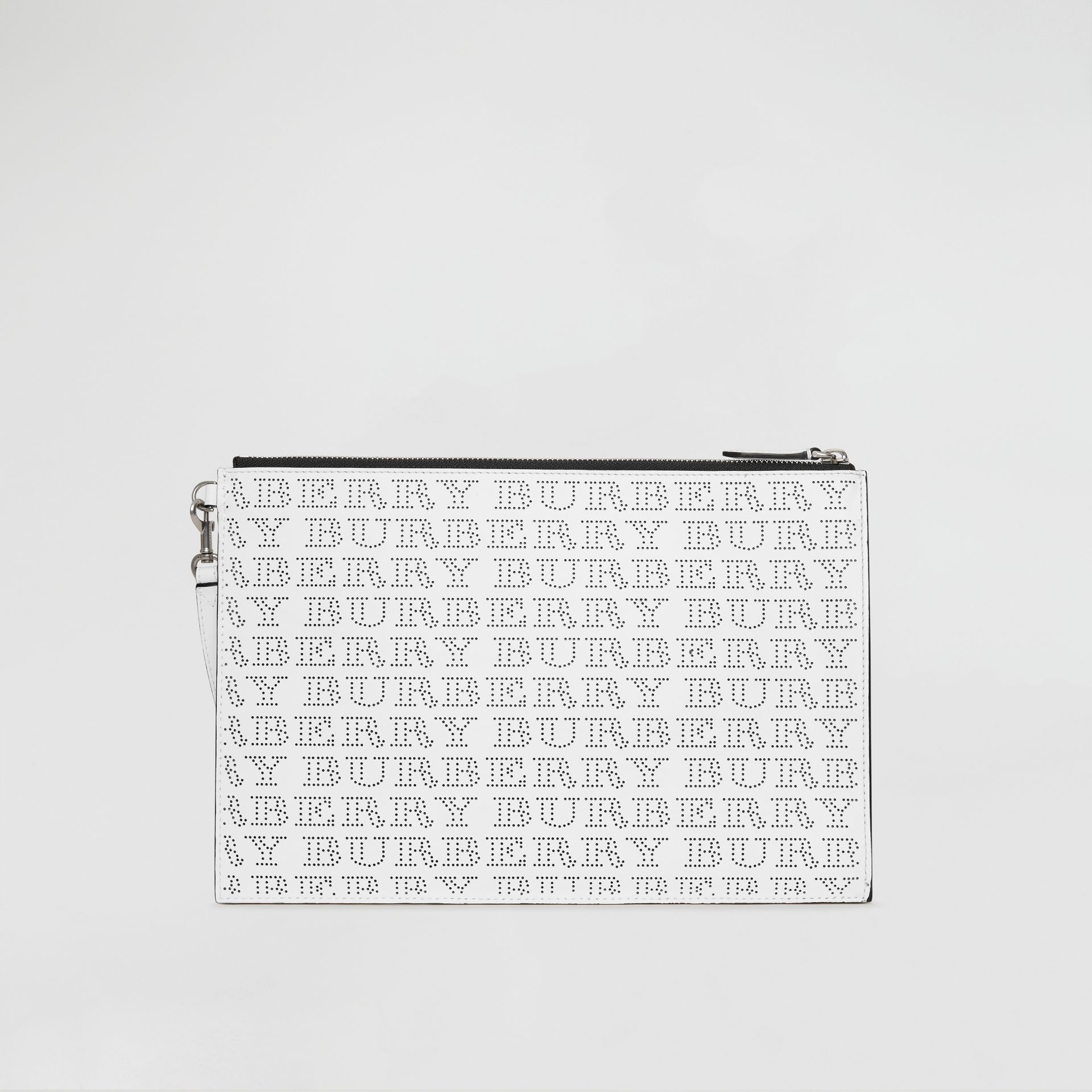 Perforated Logo Leather Zip Pouch in Optic White | Burberry - gallery image 7