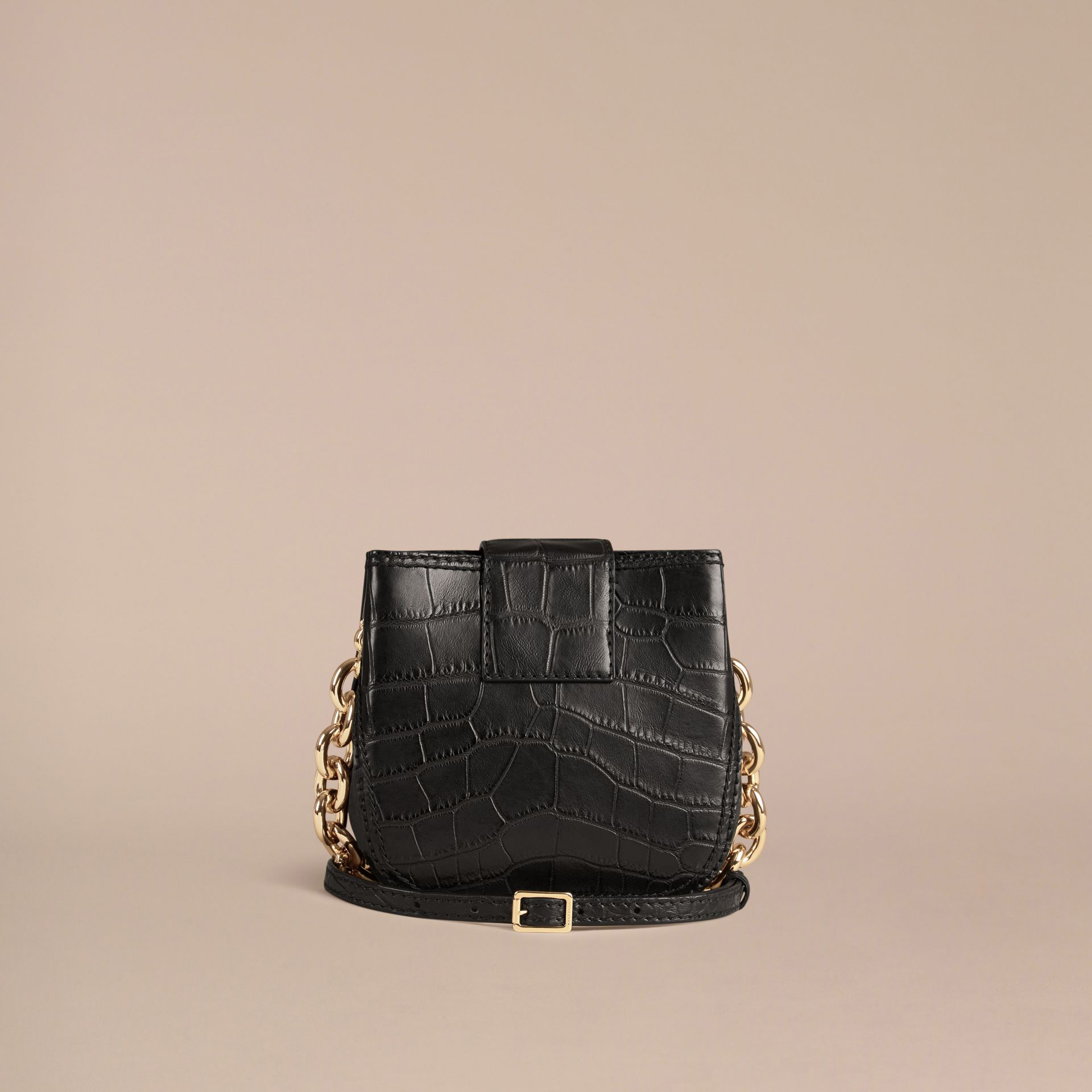 Black The Small Square Buckle Bag in Alligator Limited Edition - gallery image 5
