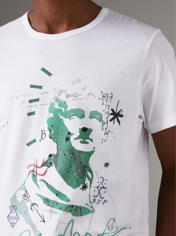 Bust Print Mélange Cotton T-shirt in White - Men | Burberry - cell image 1