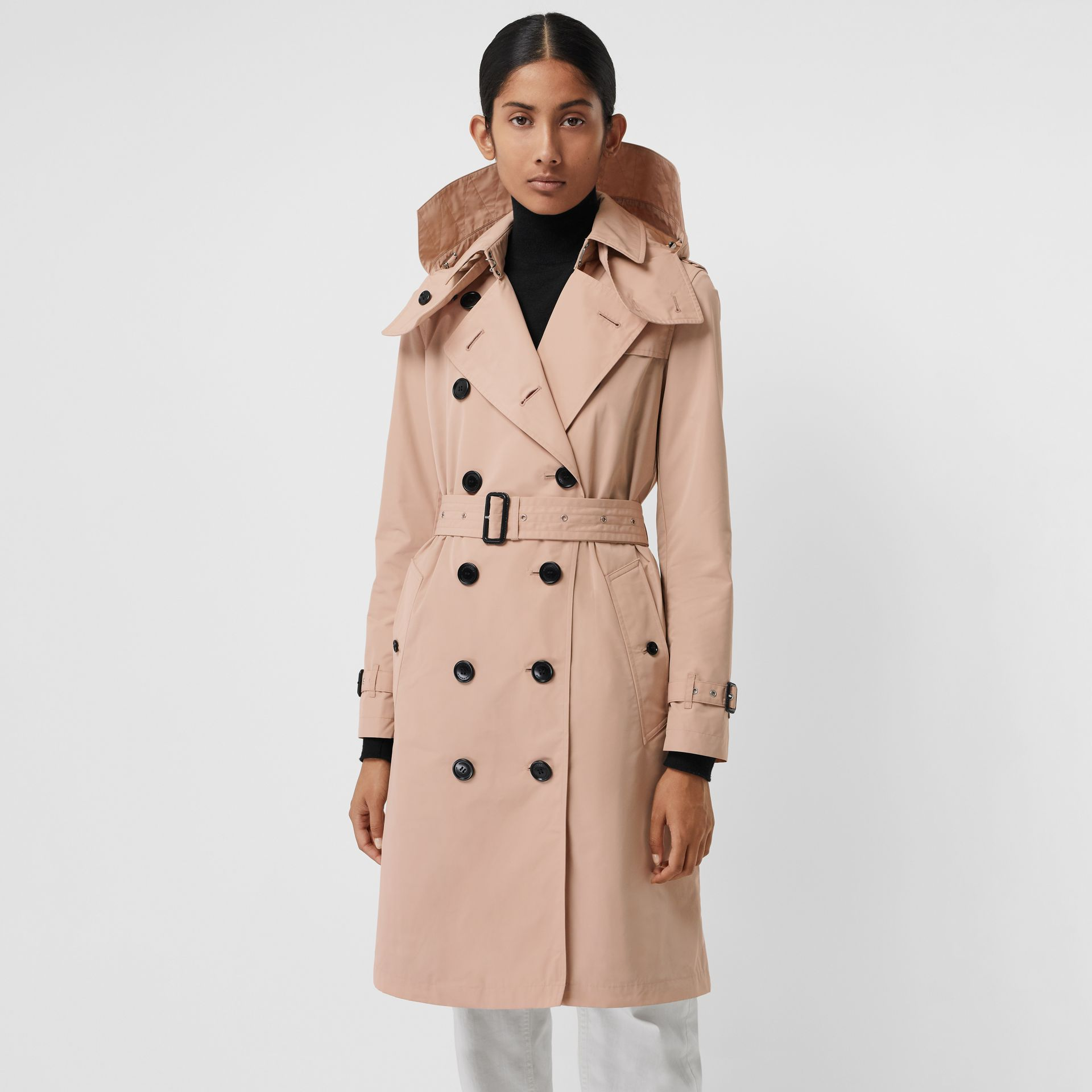 Detachable Hood Taffeta Trench Coat in Chalk Pink - Women | Burberry - gallery image 0