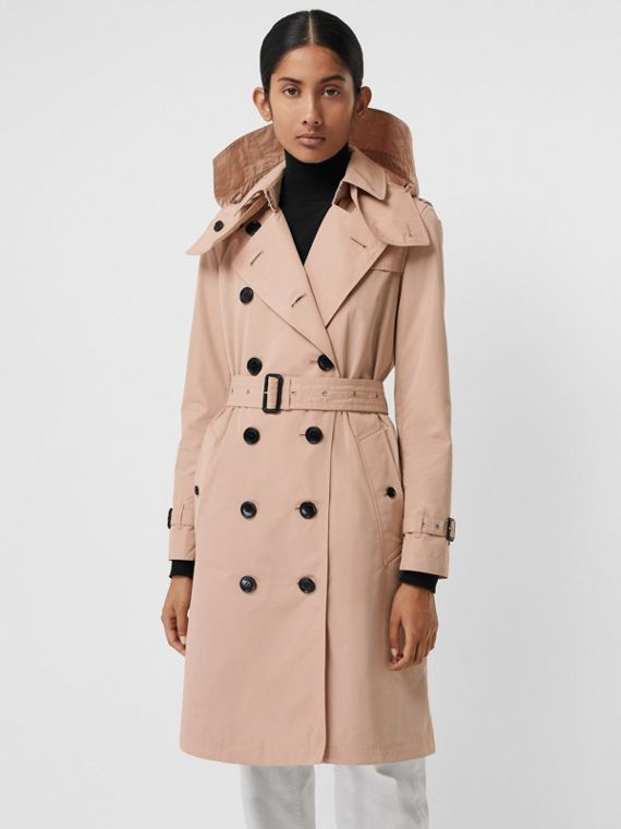 Detachable Hood Taffeta Trench Coat in Chalk Pink