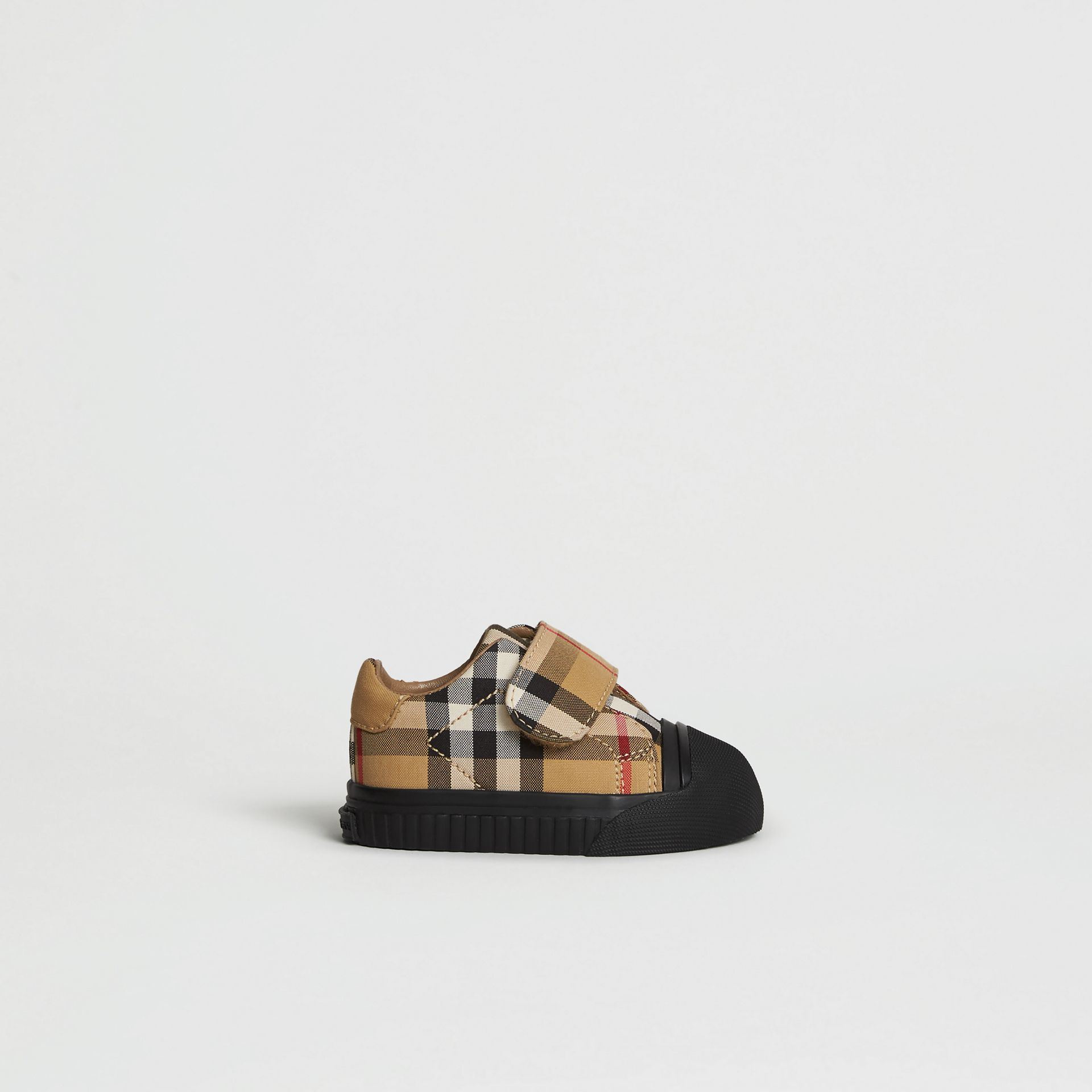 Vintage Check and Leather Sneakers in Antique Yellow/black - Children | Burberry - gallery image 3