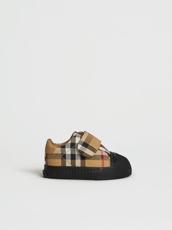 Vintage Check and Leather Sneakers in Antique Yellow/black - Children | Burberry United Kingdom - cell image 3