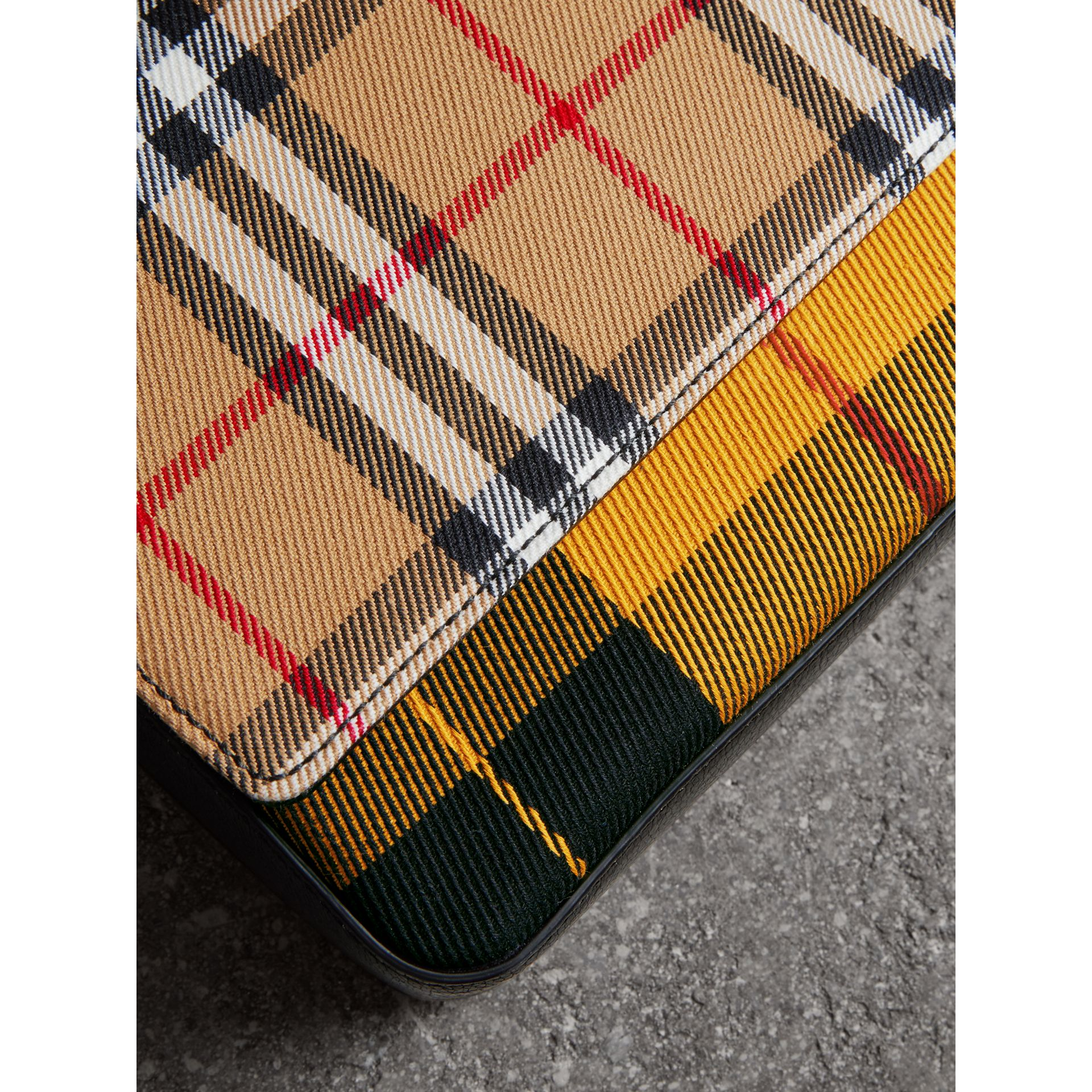 Vintage Check and Leather Wallet with Detachable Strap in Antique Yellow/black - Women | Burberry - gallery image 1