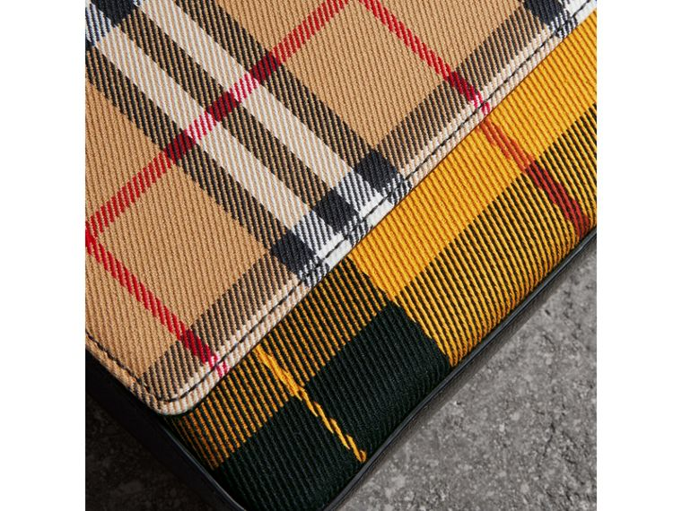 Vintage Check and Leather Wallet with Detachable Strap in Antique Yellow/black - Women | Burberry - cell image 1
