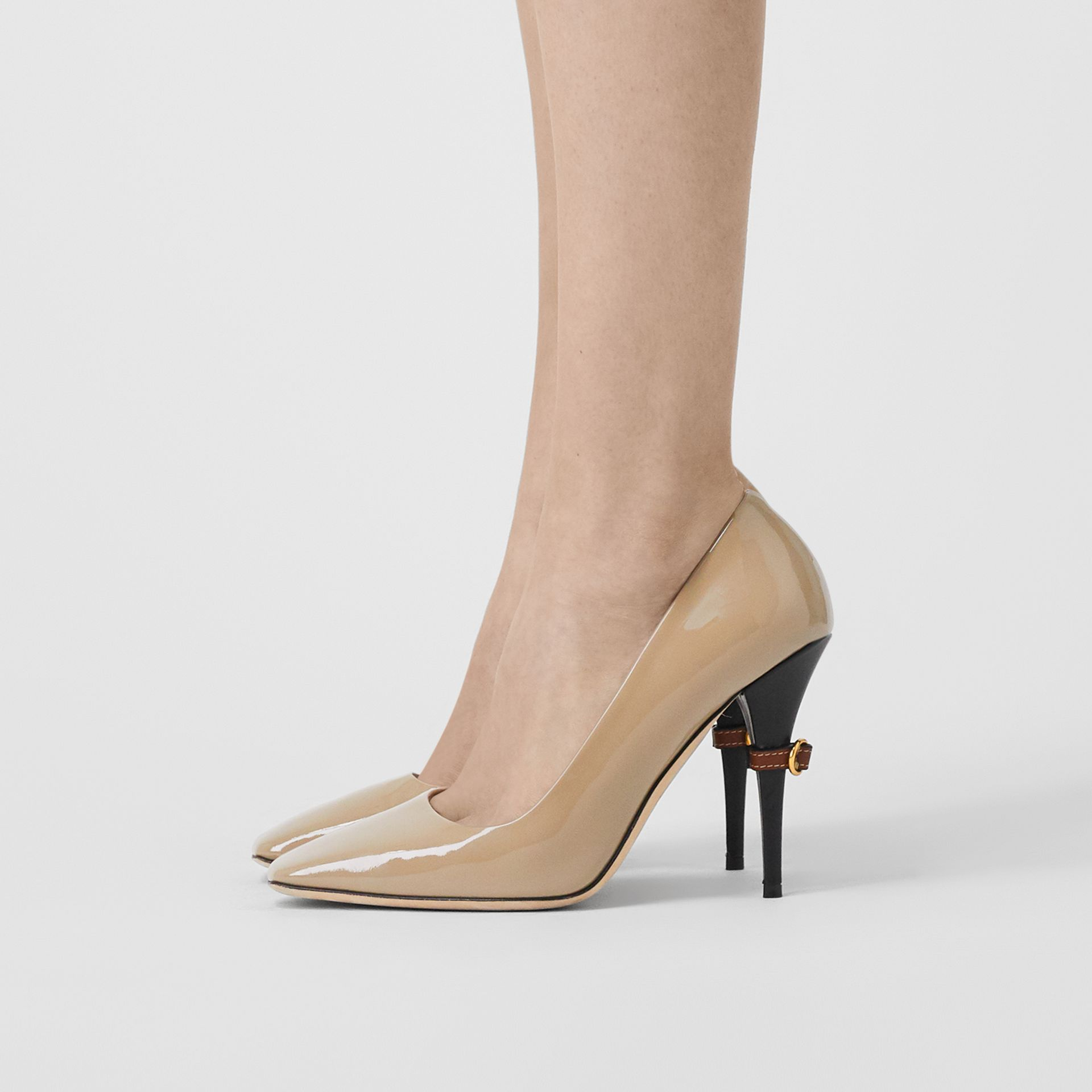D-ring Detail Patent Leather Square-toe Pumps in Dark Honey - Women | Burberry - gallery image 2