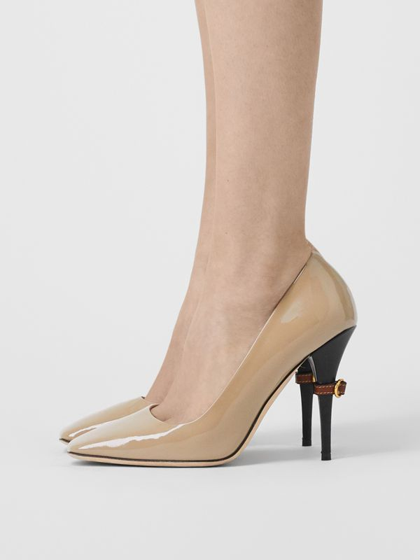 D-ring Detail Patent Leather Square-toe Pumps in Dark Honey - Women | Burberry United Kingdom - cell image 2