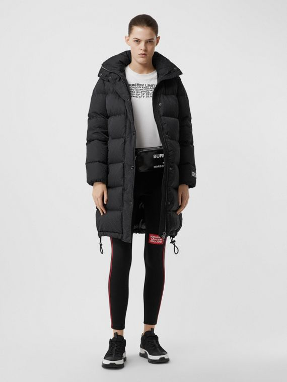 Detachable Hood Monogram ECONYL® Puffer Coat in Black