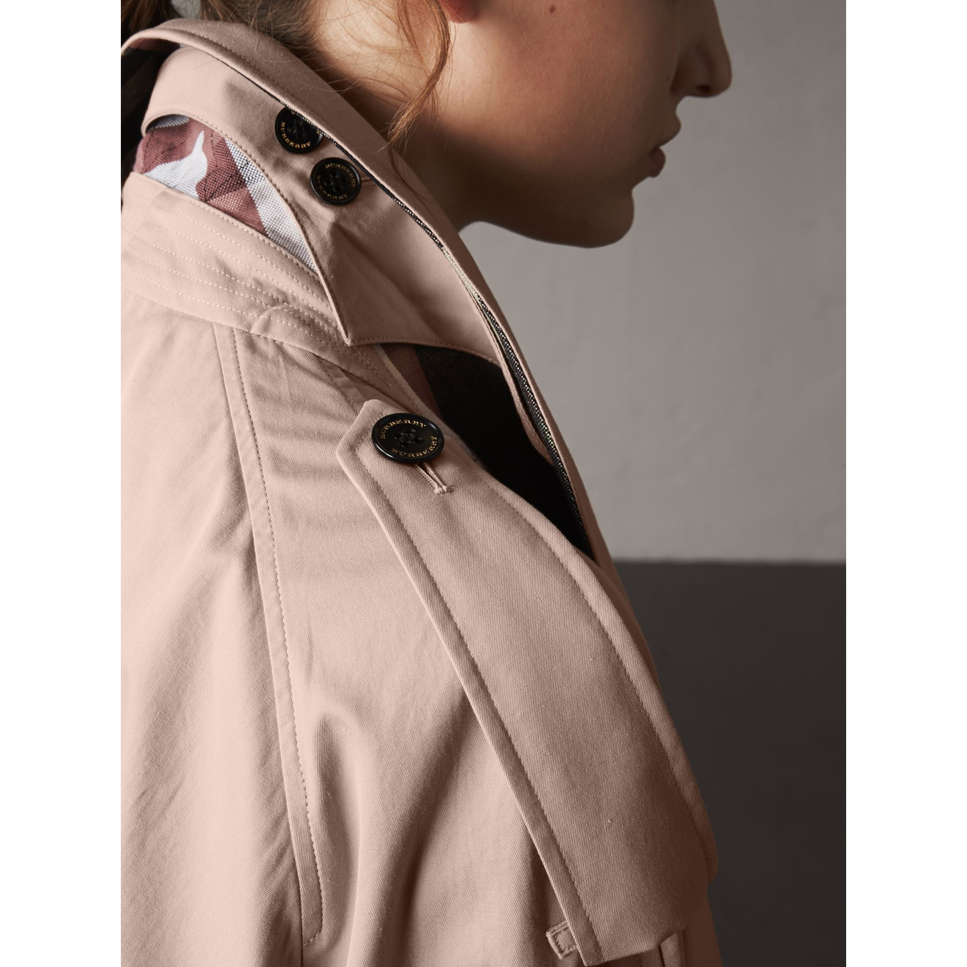 Flared Sleeve Tropical Gabardine Trench Coat - gallery image 6