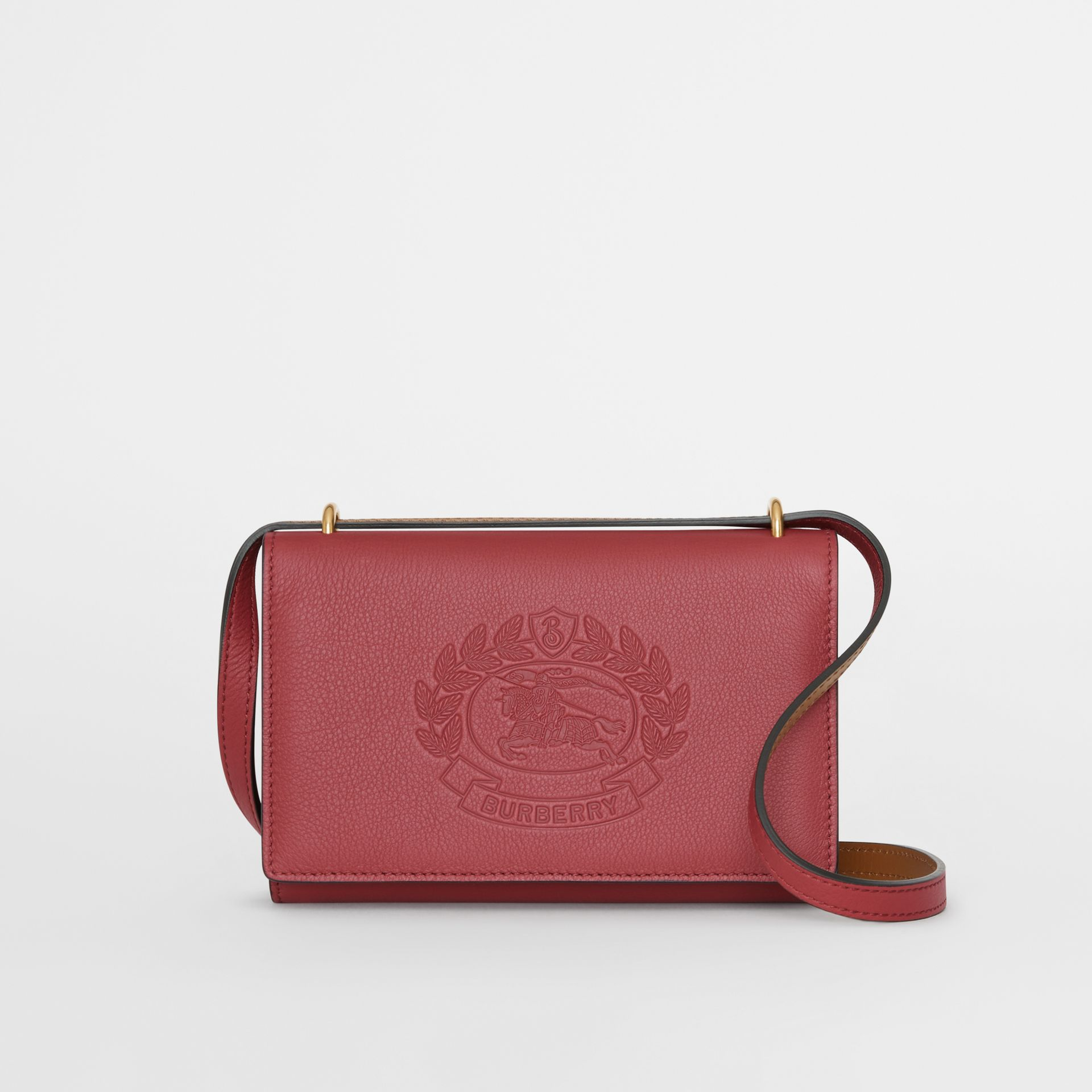 Embossed Crest Leather Wallet with Detachable Strap in Crimson - Women | Burberry Australia - gallery image 0