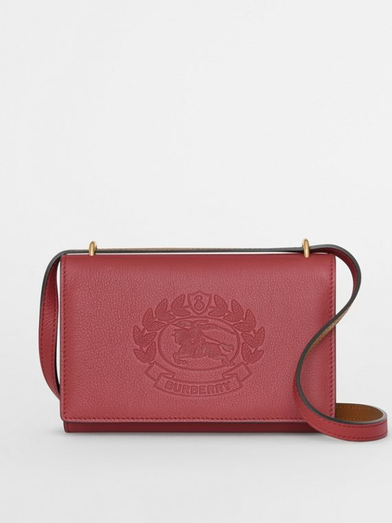 Embossed Crest Leather Wallet with Detachable Strap in Crimson