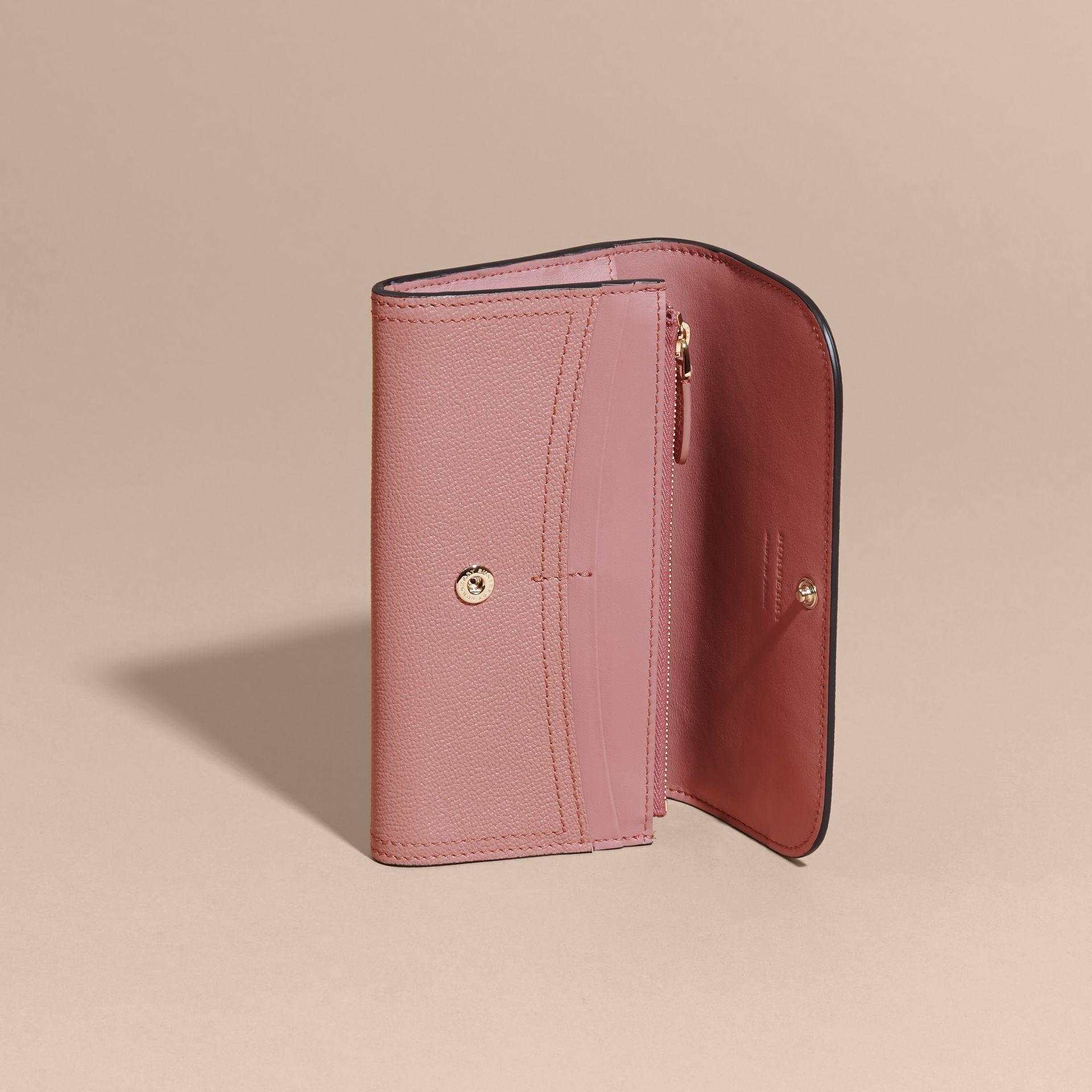 Grainy Leather Slim Continental Wallet in Dusty Pink - Women | Burberry - gallery image 6