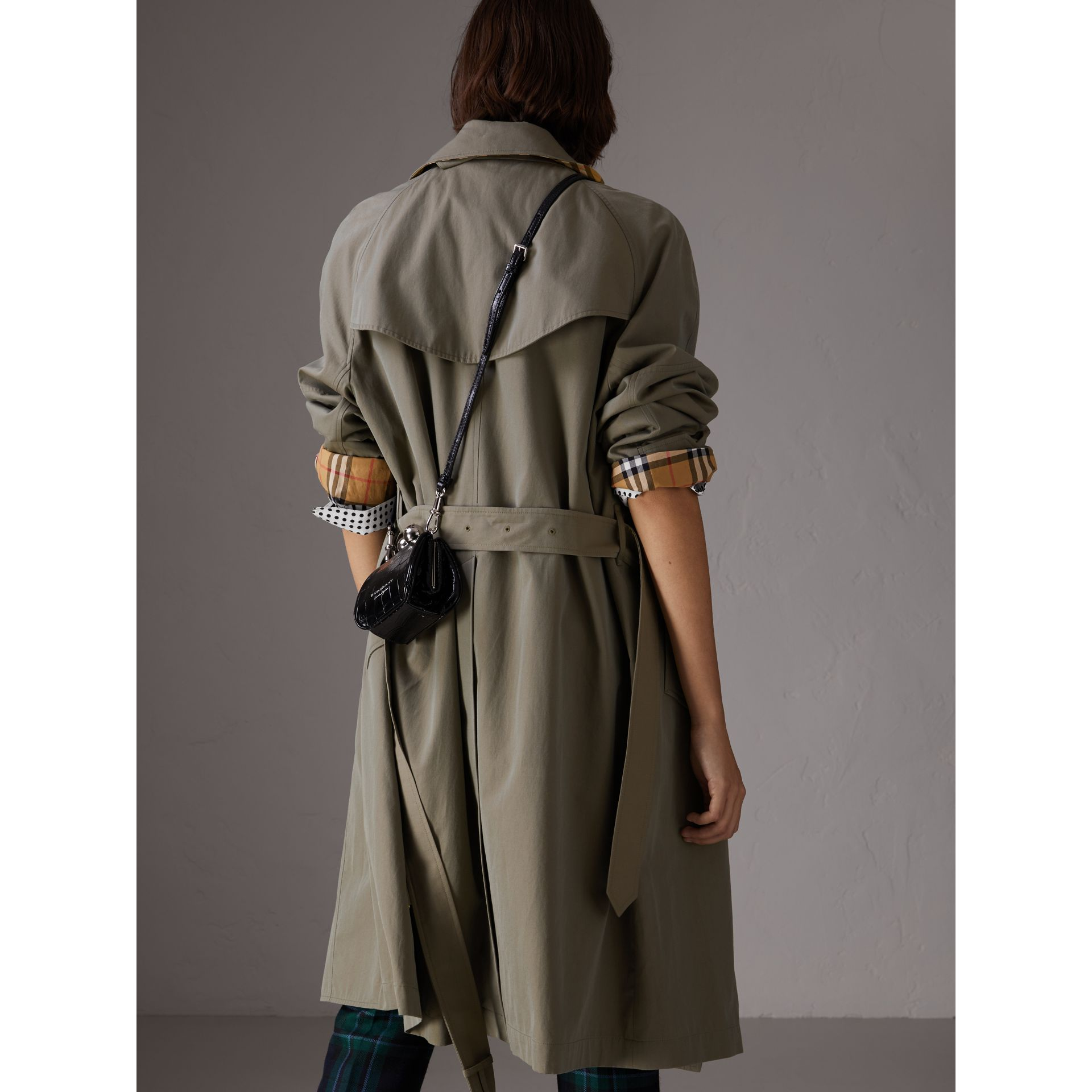 Tropical Gabardine Asymmetric Trench Coat in Chalk Green - Women | Burberry United Kingdom - gallery image 2