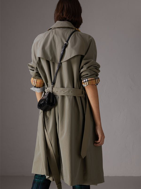 Tropical Gabardine Asymmetric Trench Coat in Chalk Green - Women | Burberry - cell image 2