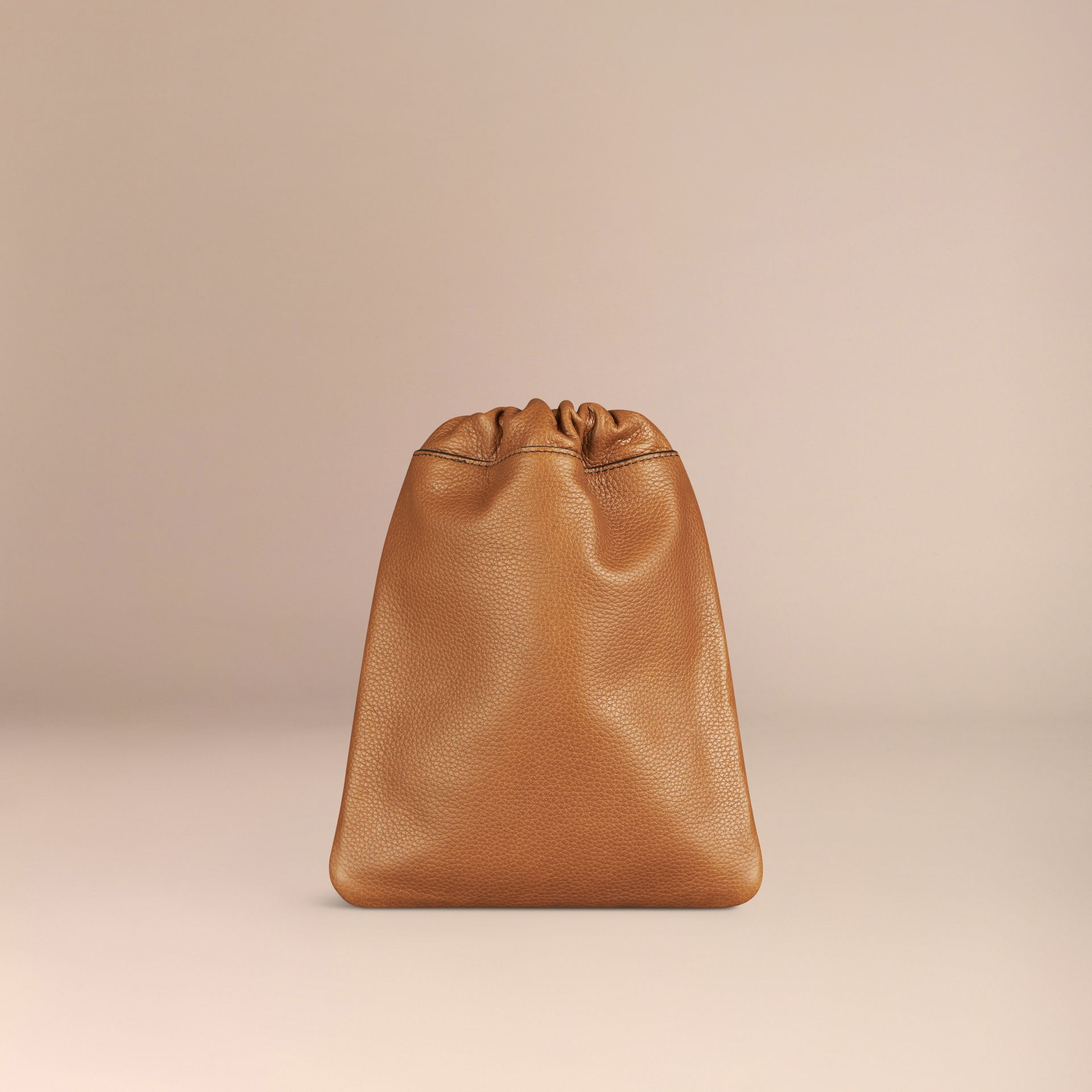 Tan Grainy Leather Drawstring Pouch Tan - gallery image 4