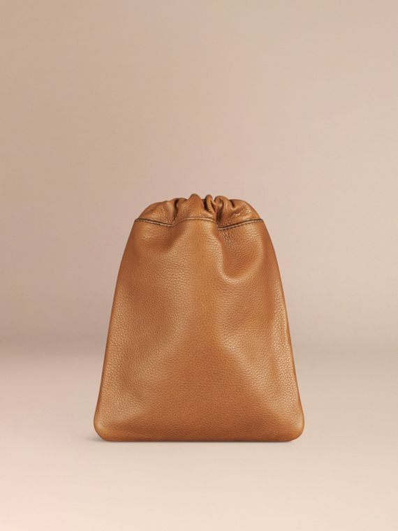 Tan Grainy Leather Drawstring Pouch Tan - cell image 3