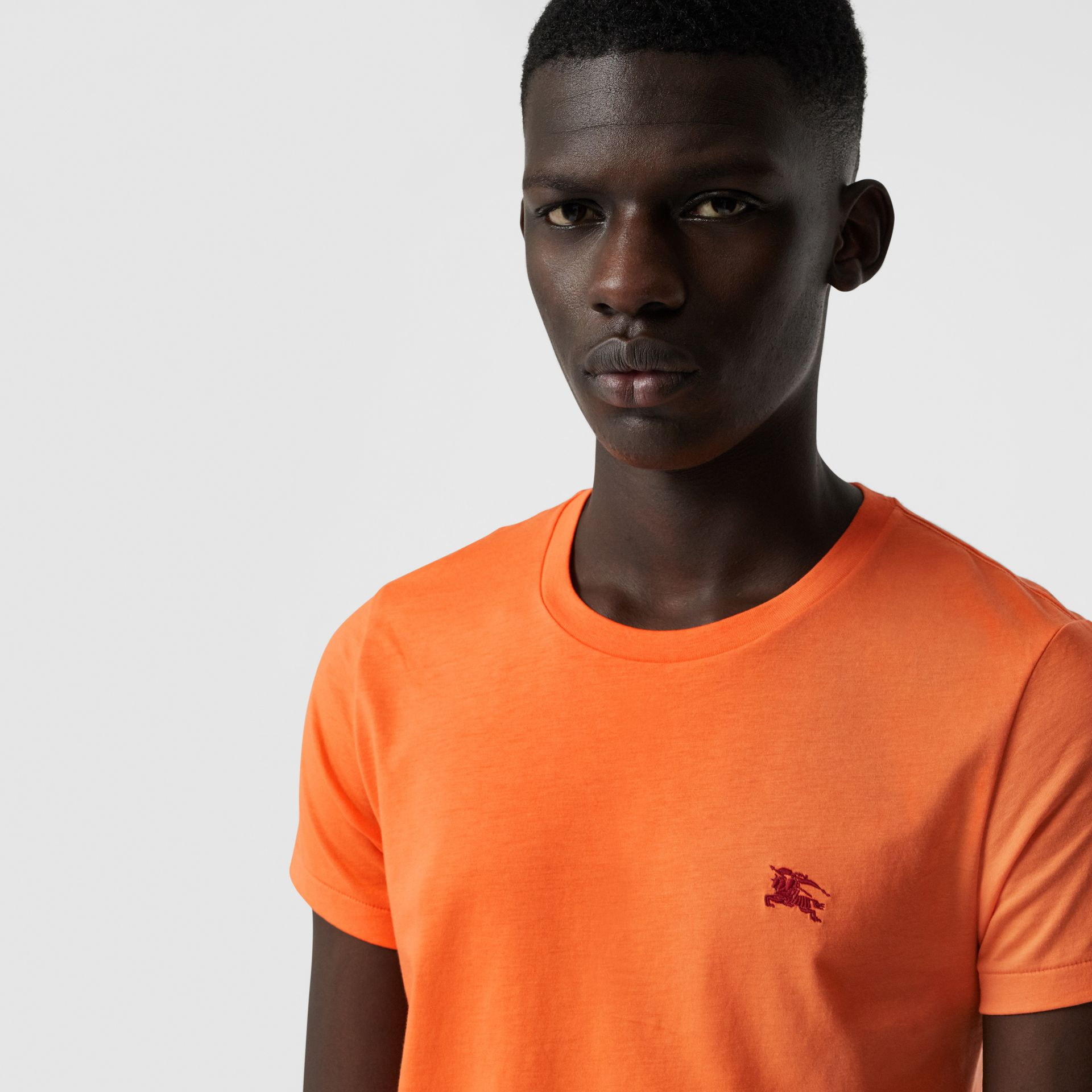Cotton Jersey T-shirt in Bright Orange - Men | Burberry - gallery image 1